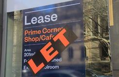 Real estate lease sign Australia. Real estate for lease sign for commercial property in Melbourne Australia stock image