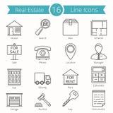 Real Estate-Lijnpictogrammen Royalty-vrije Stock Fotografie