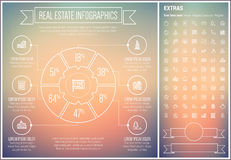 Real Estate Line Design Infographic Template Stock Photography