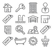 Real Estate Line Icons Stock Photography