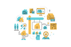 Real Estate line icons illustration Stock Photos