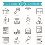 Real Estate Line Icons. Set of 16 Real estate line icons stock illustration