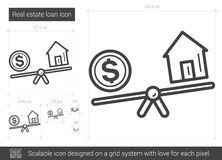 Real estate loan line icon. Stock Image