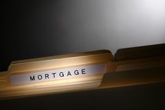 Real Estate Loan Mortgage Title on File Folder Tab Stock Images