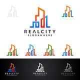 Real Estate loga wektorowy projekt z domem i ekologia kształtujemy, odizolowywaliśmy na białym tle, Zdjęcie Stock