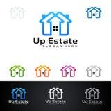 Real Estate loga wektorowy projekt z domem i ekologia kształtujemy, odizolowywaliśmy na białym tle, Zdjęcia Stock