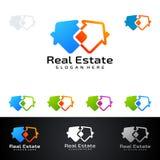 Real Estate loga wektorowy projekt z domem i ekologia kształtujemy, odizolowywaliśmy na białym tle, Zdjęcie Royalty Free