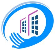 Real estate logo. Isolated line art real estate logo design Stock Photography