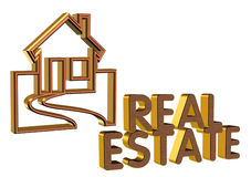 Real Estate Logo 3D brick face Stock Image