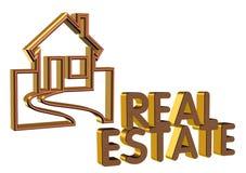 Real Estate Logo 3D brick face Stock Image