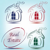 Real Estate logo and abstract symbol with house. In blue, red, green Royalty Free Stock Photo