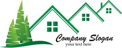 Real estate logo. Artistic real estate logo in green on white Royalty Free Stock Image