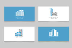 Real estate logo with business card template design. Company logotype with house, vector illustration Stock Photography