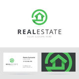 Real estate logo and business card template. Stock Image