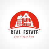 Real estate logo cottage sun Royalty Free Stock Images