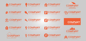 20 real estate logo design. Collection of real estate logo Royalty Free Stock Photo
