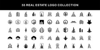 55 real estate logo design collection vector template royalty free illustration