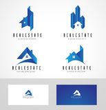 Real Estate Logo. Design. Creative abstract real estate icon logo and business card template Stock Photography