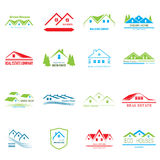 Real Estate logo design. House abstract concept icons Stock Images