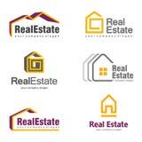 Real Estate Logo Design Sistema abstracto creativo del logotipo del icono de las propiedades inmobiliarias Imágenes de archivo libres de regalías