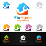 Real estate Logo, Fix Home Vector Logo Design suitable for architecture,  handyman,bricolage,Diy,and for another application. Real estate vector Logo design Royalty Free Stock Image
