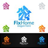 Real estate Logo, Fix Home Vector Logo Design suitable for architecture,  handyman,bricolage,Diy,and for another application. Real estate vector Logo design Royalty Free Stock Photos