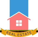 Real Estate Logo Flat Immagine Stock