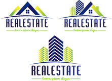 Real Estate Logo. Illustration drawing representing a real estate logo made out of a house roof and building blocks Stock Photos
