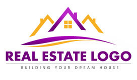 Real Estate Logo. Illustration drawing representing a real estate logo made out of a house roof and swashes Royalty Free Stock Photos
