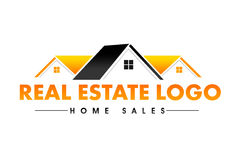 Real Estate Logo. Illustration drawing representing a real estate logo made out of a house roof with windows Royalty Free Stock Images