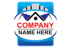 Real estate logo. S or icon with house and buildings on top Royalty Free Stock Photography