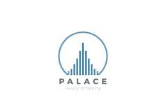 Real Estate Logo Luxury Skyscrapers Linear Constru ilustração stock