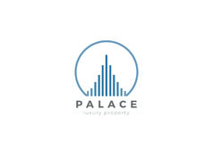 Real Estate Logo Luxury Skyscrapers Linear Constru. Real Estate Logo Luxury design Skyscrapers vector template Linear style Royalty Free Stock Photography