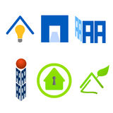 Real estate logo material set. Illustration of elements for real estate and green home logo Stock Photos