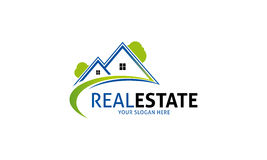 Real Estate Logo. Minimalist and modern real estate logo template. Simple work and adjusted to suit your needs Royalty Free Stock Images
