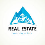 Houses in mountains vector logo. Houses in mountains vector stained-glass logo. Real-estate business or hotel cottages sign. Property agency, building Stock Images