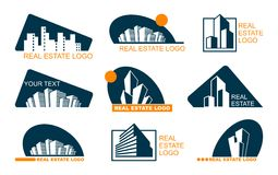 Real Estate Logo Set. Abstract creative building. Concept of the company brand Stock Photo