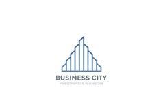 Real Estate Logo Skyscrapers Linear ilustração stock