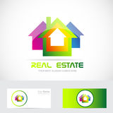 Real estate logo. Vector company logo icon element template real estate colored houses 3d Royalty Free Stock Images