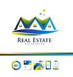 Real estate logo. Vector company logo icon element template real estate house  property residential realty construction Stock Photography