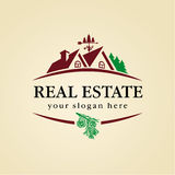 Real estate logo wood Royalty Free Stock Photo
