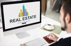 Real Estate Majątkowy pracujący pojęcie Obrazy Stock