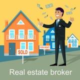 Real Estate-Makelaar Design Flat vector illustratie
