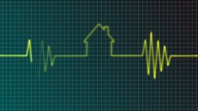 Real estate market. Cardiogram with house symbol - illustration Royalty Free Stock Images