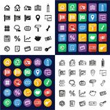 Real Estate Market All in One Icons Black & White Color Flat Design Freehand Set Stock Photo
