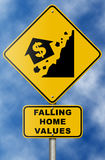 Real Estate Market Collapse Road Sign on Blue Sky. Ironic road sign warning of real estate downturn Stock Photos