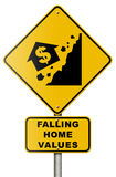 Real Estate Market Collapse Road Sign on White Stock Photography