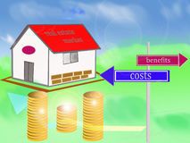 Real estate market. Concept of real estate market with costs and benefits Stock Photos