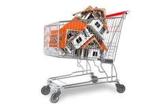Real Estate Market. Concept with Homes in Shopping Cart Isolated on White Background. Houses in Shopping Cart 3D illustration Stock Photography