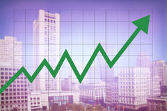 Real estate market economy with increasing graph. And green arrow going up with colorful blurred cityscape background Stock Image